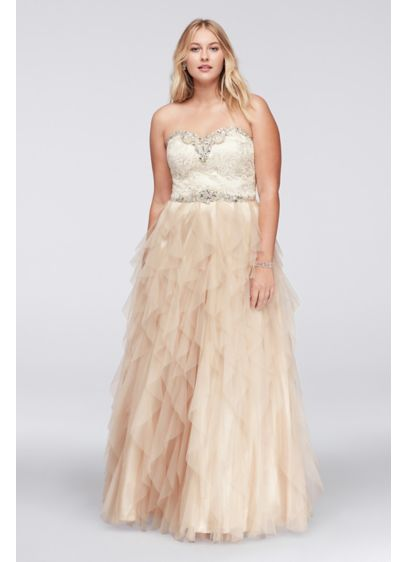 Beaded Plus Size Ball Gown with Cascading Skirt | David\'s Bridal