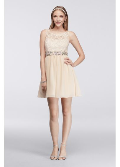 Sleeveless Homecoming Dress with Lace Bodice 836564