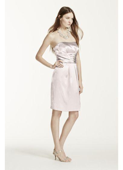Short Grey Soft & Flowy David's Bridal Bridesmaid Dress