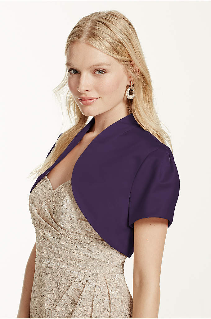 Short Sleeve Satin Bolero - Our satin bolero is a chic way to