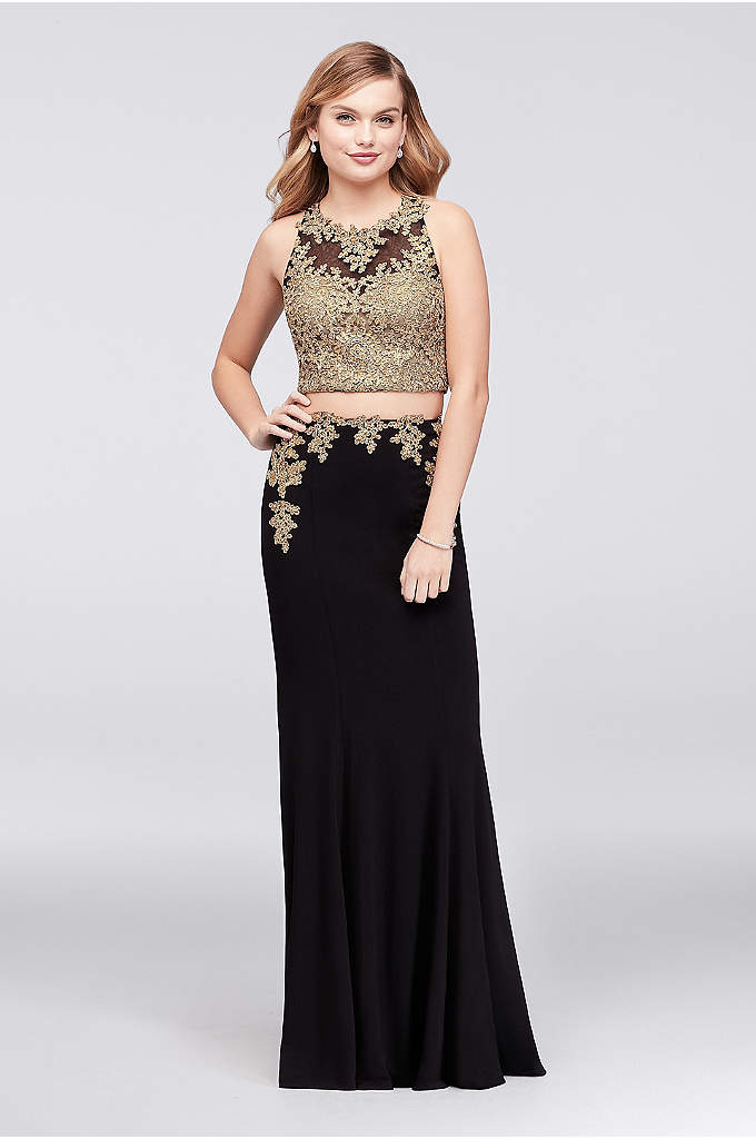 Corded Lace Applique Jersey Two-Piece Dress - A sleek and chic option for prom, this