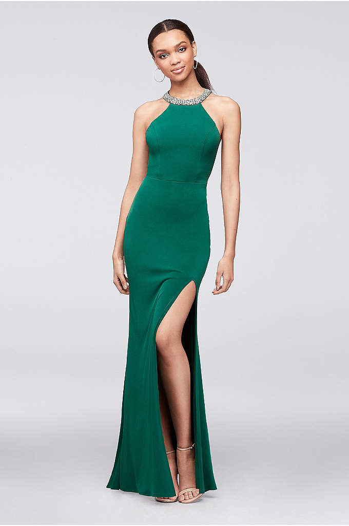 Stretch Jersey Halter Dress with Beaded Neckline - This gorgeous stretch jersey dress is a guaranteed