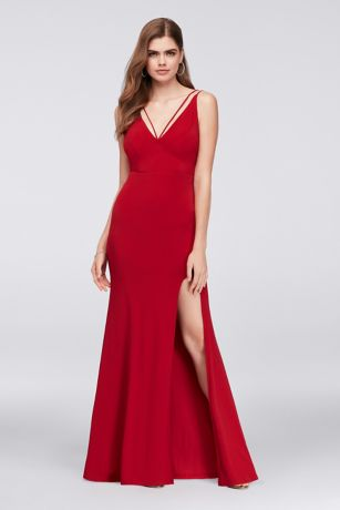 Double Strap Plunging Neckline Jersey Sheath Gown - Sleek and chic, the daring plunge neckline of