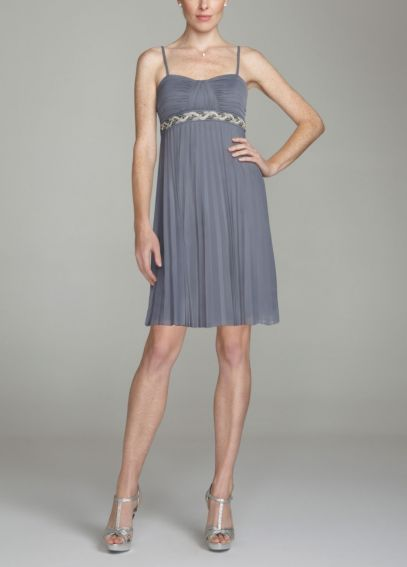 Mesh Dress with Beaded Waist and Spaghetti Straps 8420BZ9B