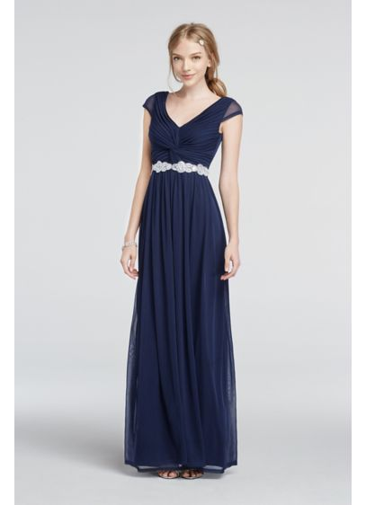 Long A-Line Cap Sleeves Prom Dress - City Triangles