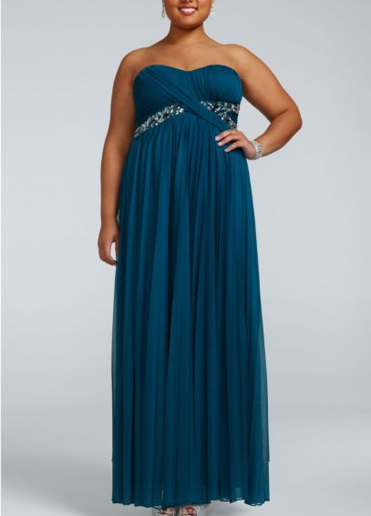 Long Chiffon Dress with Pleated Bodice 8420S87W