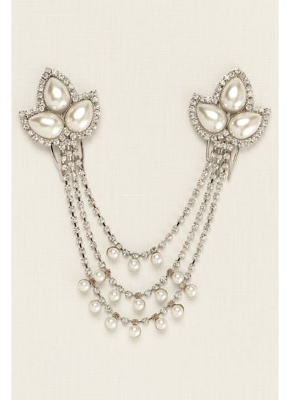 Pearl and Rhinestone Swag Comb - Wedding Accessories