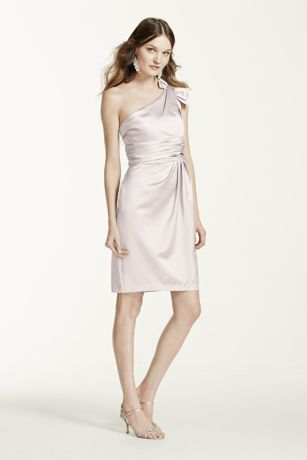 Satin One Shoulder Dress with Ruching - Sophisticated and chic, this one shoulder style is