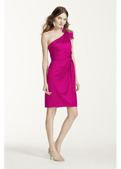 Satin One Shoulder Dress with Ruching 84333