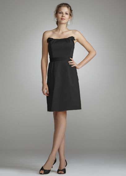 Short Strapless Cotton Dress with Band at Waist 84725