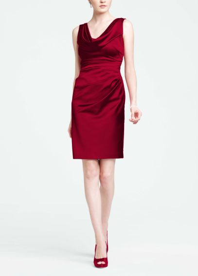 Sleeveless Stretch Satin Cowl Neck Dress 84741
