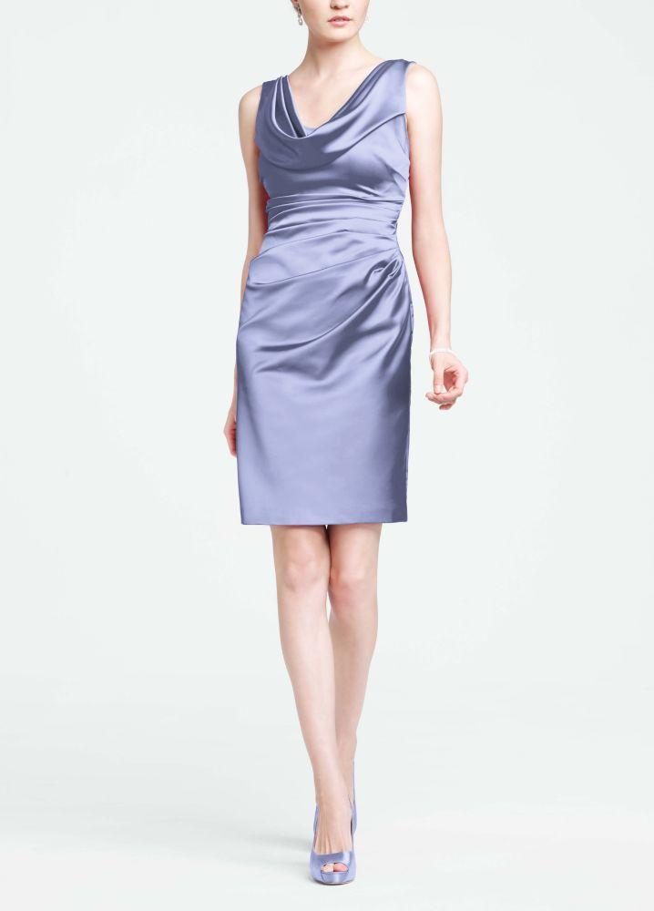 Sleeveless stretch satin cowl neck dress style 84741 for Satin cowl neck wedding dress