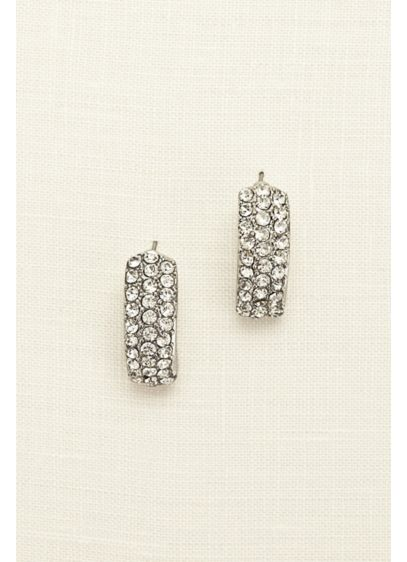 Pave Crystal Half Hoop Earrings - Wedding Accessories
