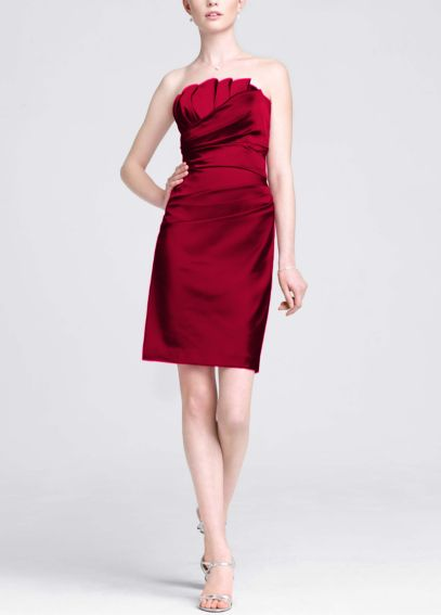 Stretch Satin Dress with Crumb Catcher Detail 84835