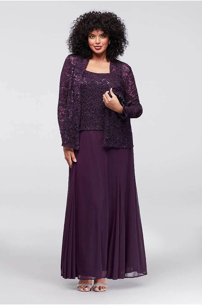 Lace and Mesh Plus Size A-Line Dress with - With the look of separates, this sequined lace