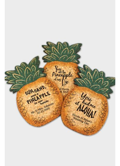 Personalized Pineapple Cork Coaster - Wedding Gifts & Decorations