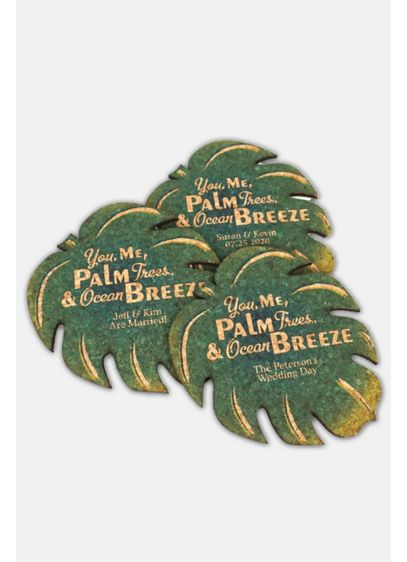 Personalized Palm Leaf Cork Coaster - Wedding Gifts & Decorations