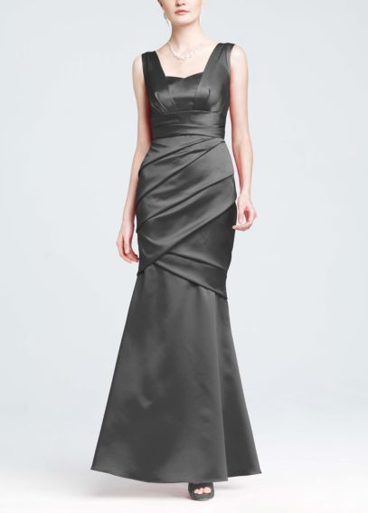 Sleeveless Satin Gown with Ruched Overlay 85060