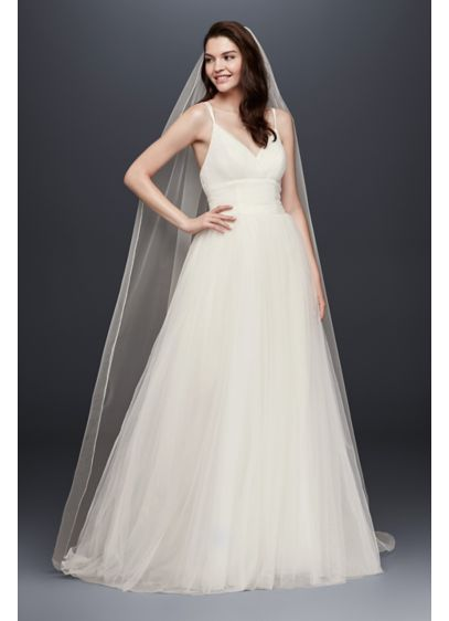 One Tier Tulle Cathedral Veil with Pencil Edge - Wedding Accessories