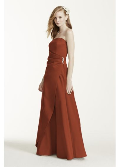 Satin Strapless Gown with Side Drape 8567