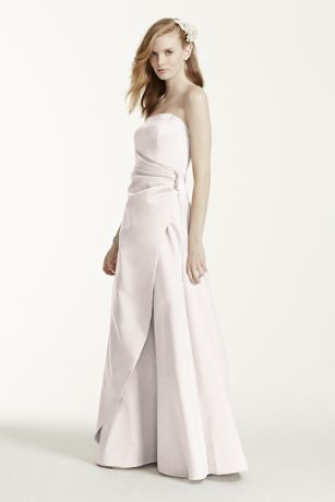 Satin Gown with Side Drape & Brooch - This satin, strapless, elegant ball gown is a