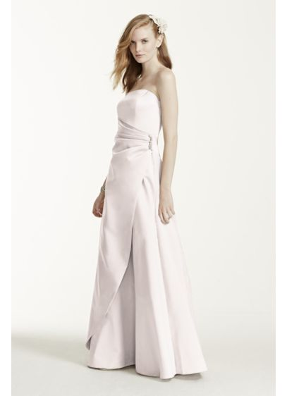 Long Grey Structured David's Bridal Bridesmaid Dress