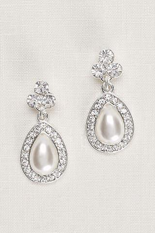 Aretes Con Trío de Cristales y Perlas en Forma de Pera.