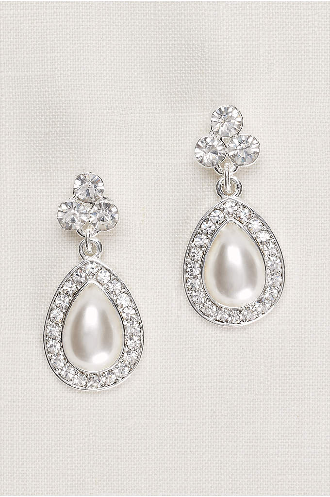 Crystal Trio and Pear Pearl Earrings - A pear-shaped pearl surrounded by pave crystals makes