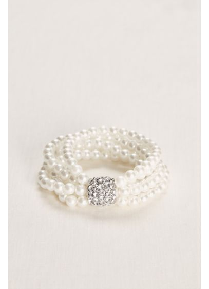 Multiple Strand Pearl and Crystal Bracelet - Wedding Accessories
