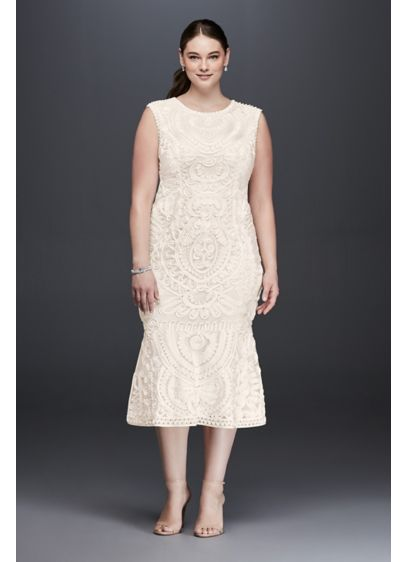 Soutache Tank Midi Plus Size Sheath Dress | David\'s Bridal