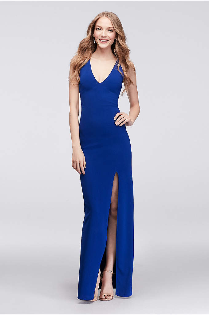 Cross-Back V-Neck Sheath Gown - This body-skimming sheath dress is stunning in its