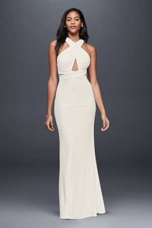Ottomon Crisscross Halter Dress | David\'s Bridal