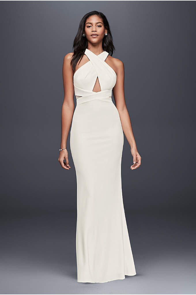 Ottomon Crisscross Halter Dress - Sleek and sophisticated, this stretch-jersey sheath's crisscrossed bodice