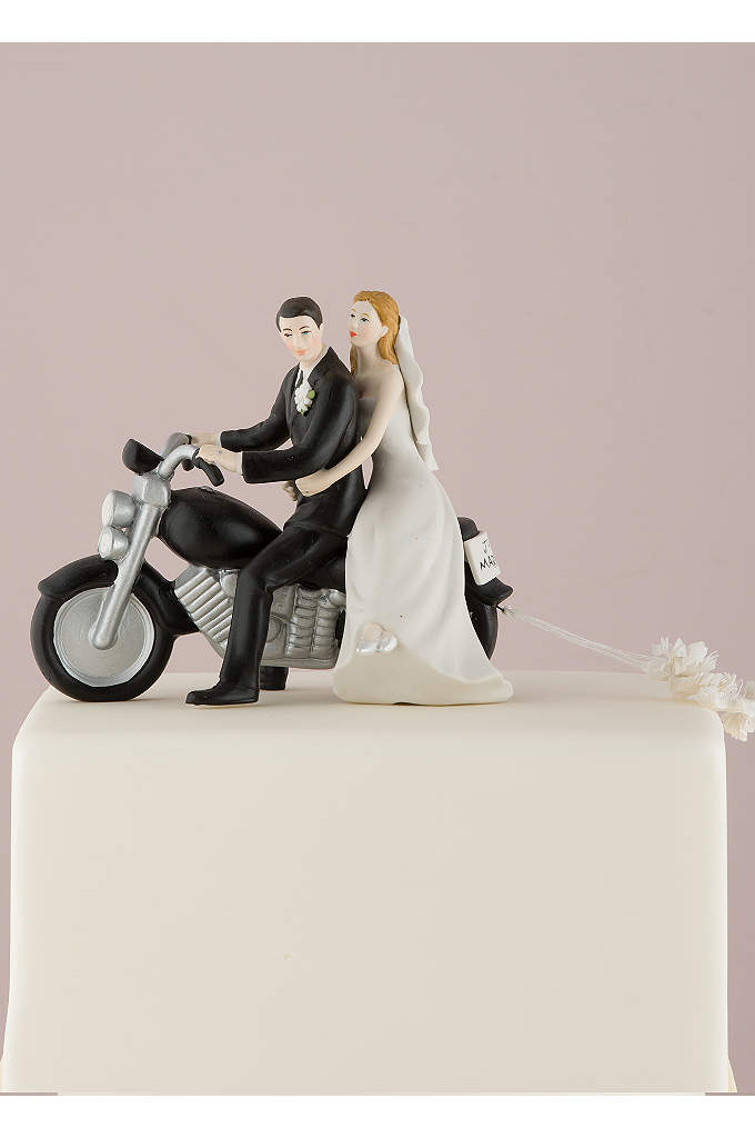 Motorcycle Bride and Groom Cake Topper - This romantic wedding couple are seated on a