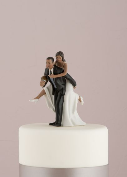 Playful Football Wedding Couple Cake Topper 8669