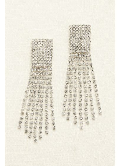 Seven Row Crystal Tassel Earrings - Wedding Accessories
