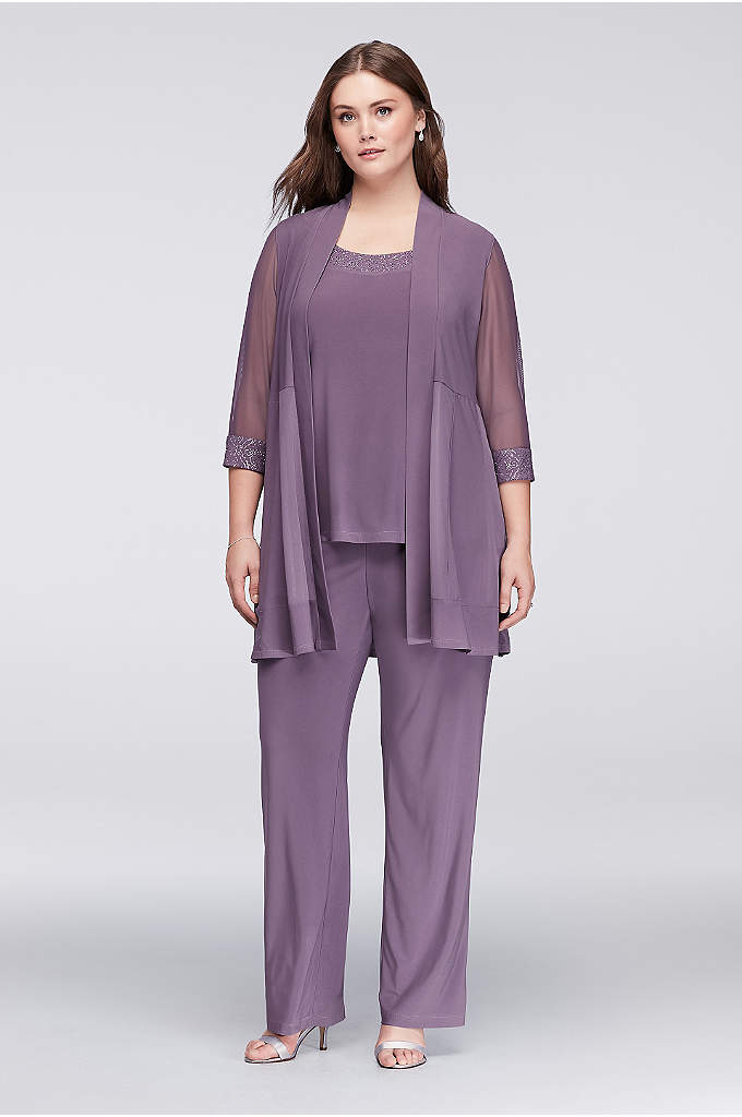 Illusion Panel Mock Three Piece Suit - This illusion panel mock three-piece pantsuit is designed