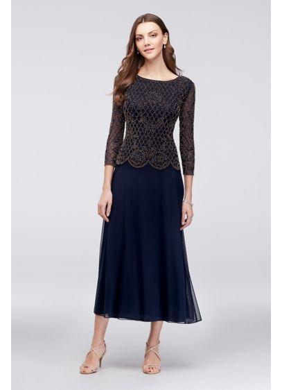 Tea Length A-Line 3/4 Sleeves Formal Dresses Dress - Xscape