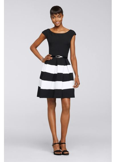 Short Sleeve Striped Work Dress with Belt 87298
