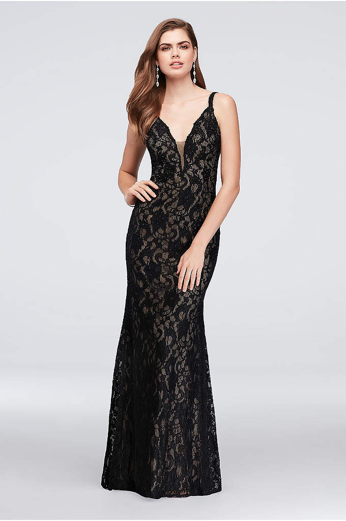 Crystal Lace Mermaid Dress with Deep V-Back - Bold floral lace is studded with black crystals