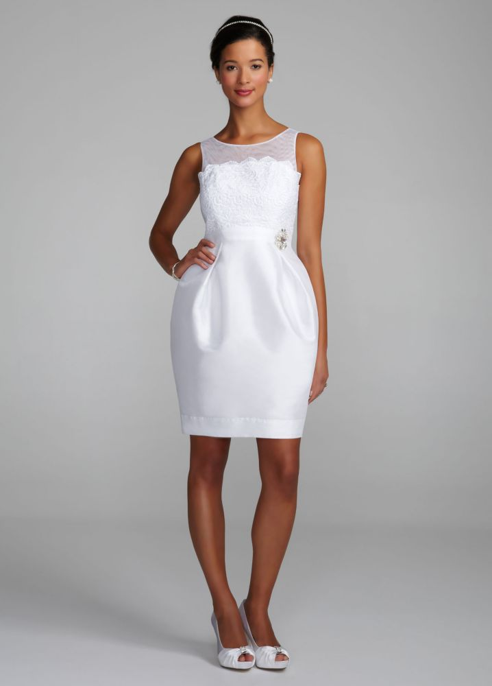 Db studio strapless tulle illusion wedding dress with David s bridal strapless wedding dress