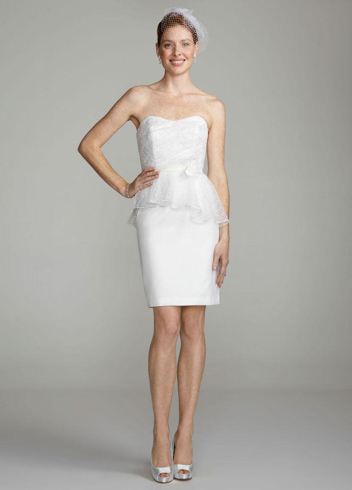db studio Wedding Dress Strapless Embroidered Dot On Organza Peplum ...