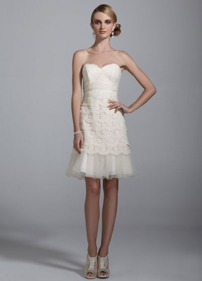 Sweetheart Lace Dress with Peek-A-Boo Hemline 875574