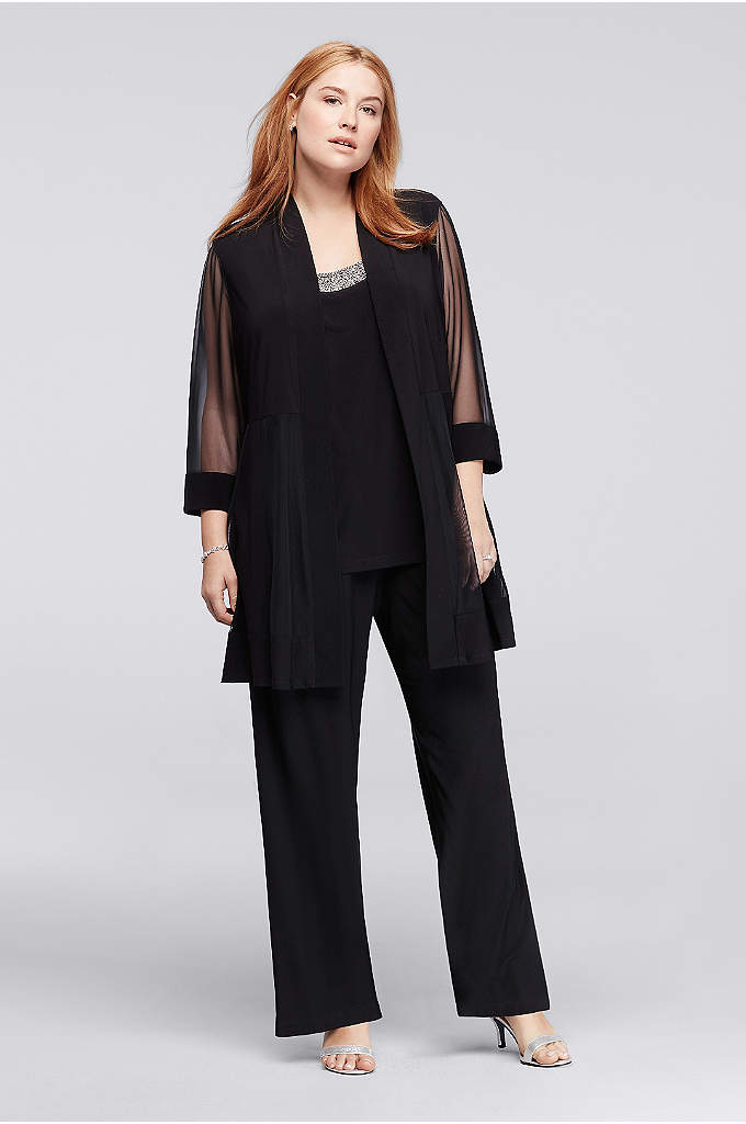 3-Piece Plus Size Pantsuit with Beaded Neckline - This plus size pantsuit is as graceful as