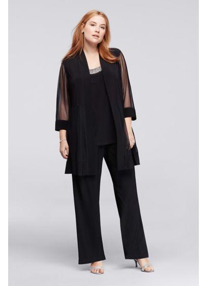 3 Piece Plus Size Pantsuit With Beaded Neckline David S