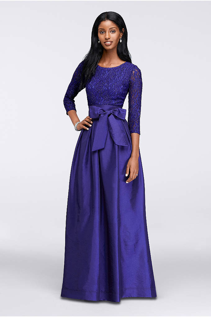 3/4 Sleeve Taffeta Ball Gown with Lace Bodice - Fit for a royal affair, this spectacular taffeta