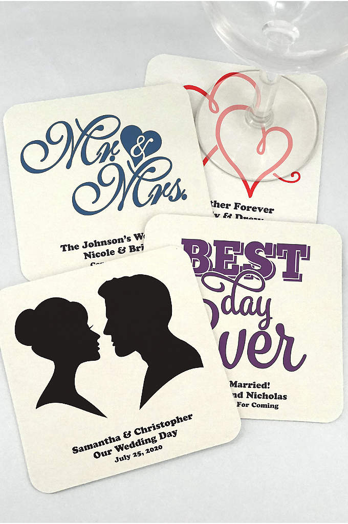 Personalized Square Paper Board Coasters - These personalized square paper board coasters are a