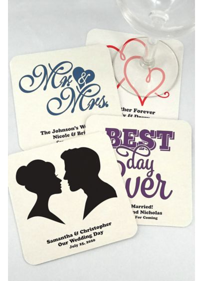 Personalized Square Paper Board Coasters - Wedding Gifts & Decorations
