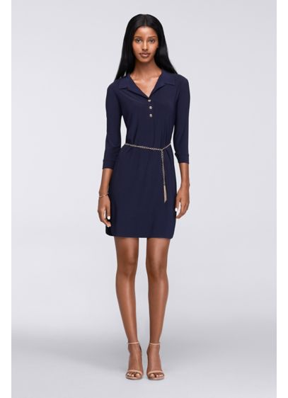Short Sheath 3/4 Sleeves Cocktail and Party Dress - Tiana B