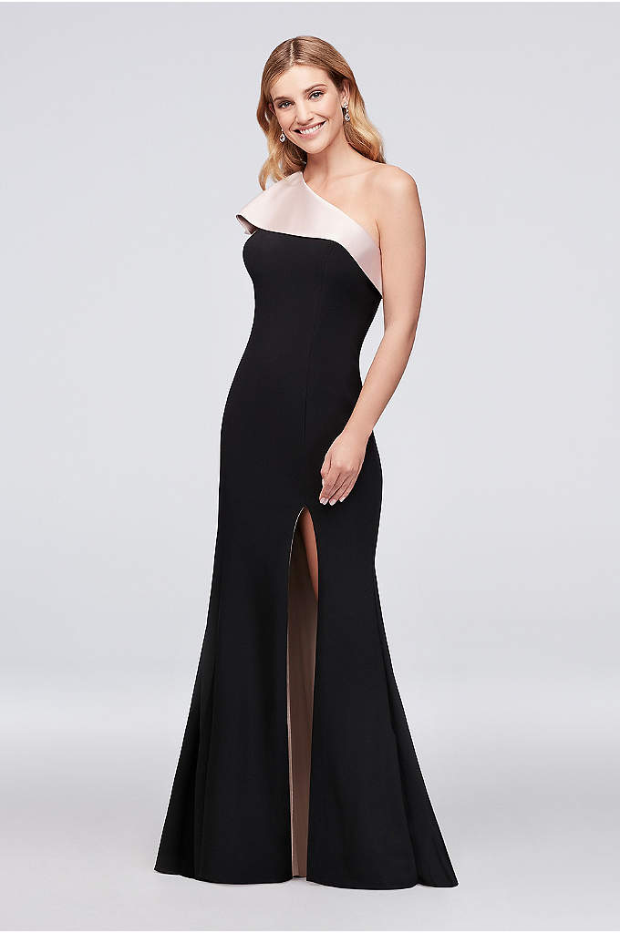 One-Shoulder Contrast Ruffle Jersey Sheath Gown - Make a style statement in this chic, one-shoulder